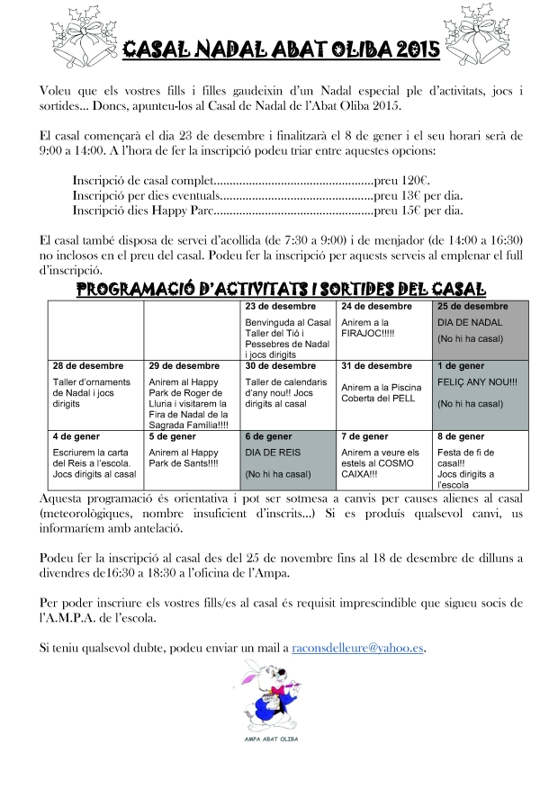 NOTA INFORMATIVA I PROGRAMACIÓ CASAL 2015