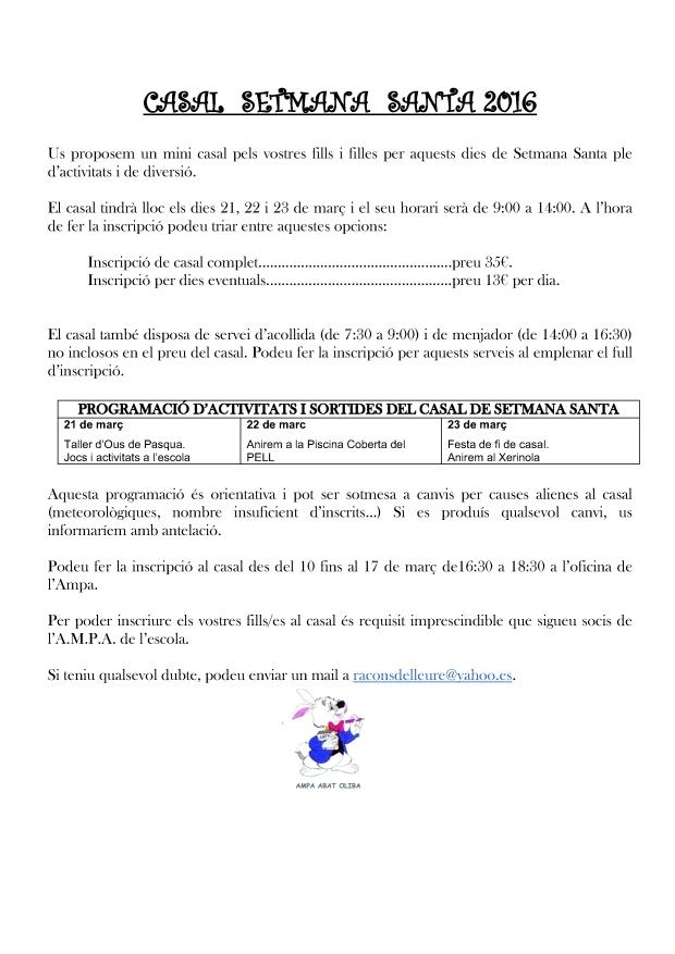 NOTA INFORMATIVA CASAL  SETMANA  SANTA 2016