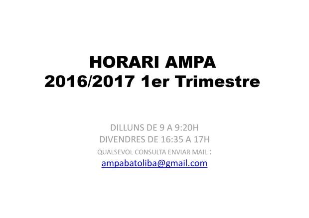 HORARI AMPA PRIMER TRIMESTRE
