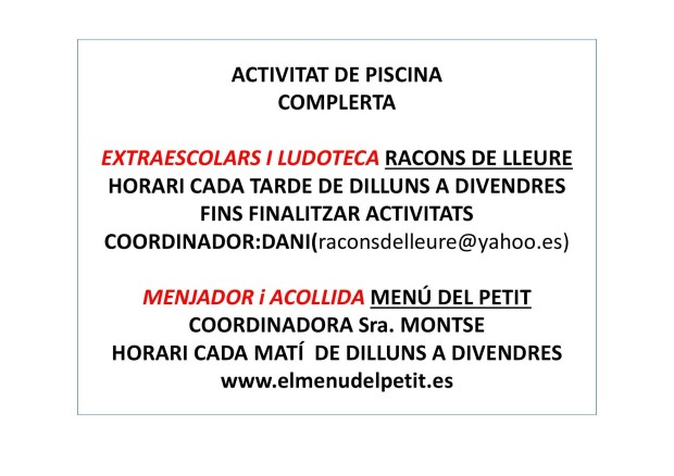 INFORMACIÓ LUDOTECA I MENJADOR